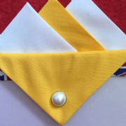 Yellow and White Hankie With Yellow Flap and Pin